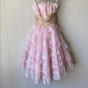 STRAPLESS LACE DRESS, PINK